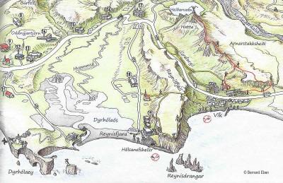 Vik, carte touristique