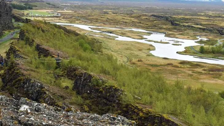 Thingvellir, début de la faille qui traverse toute l'Islande.