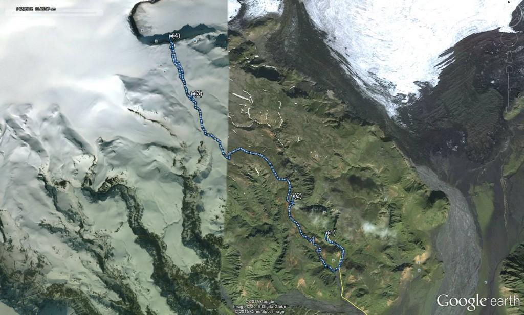tracé rando glacier rother icelande
